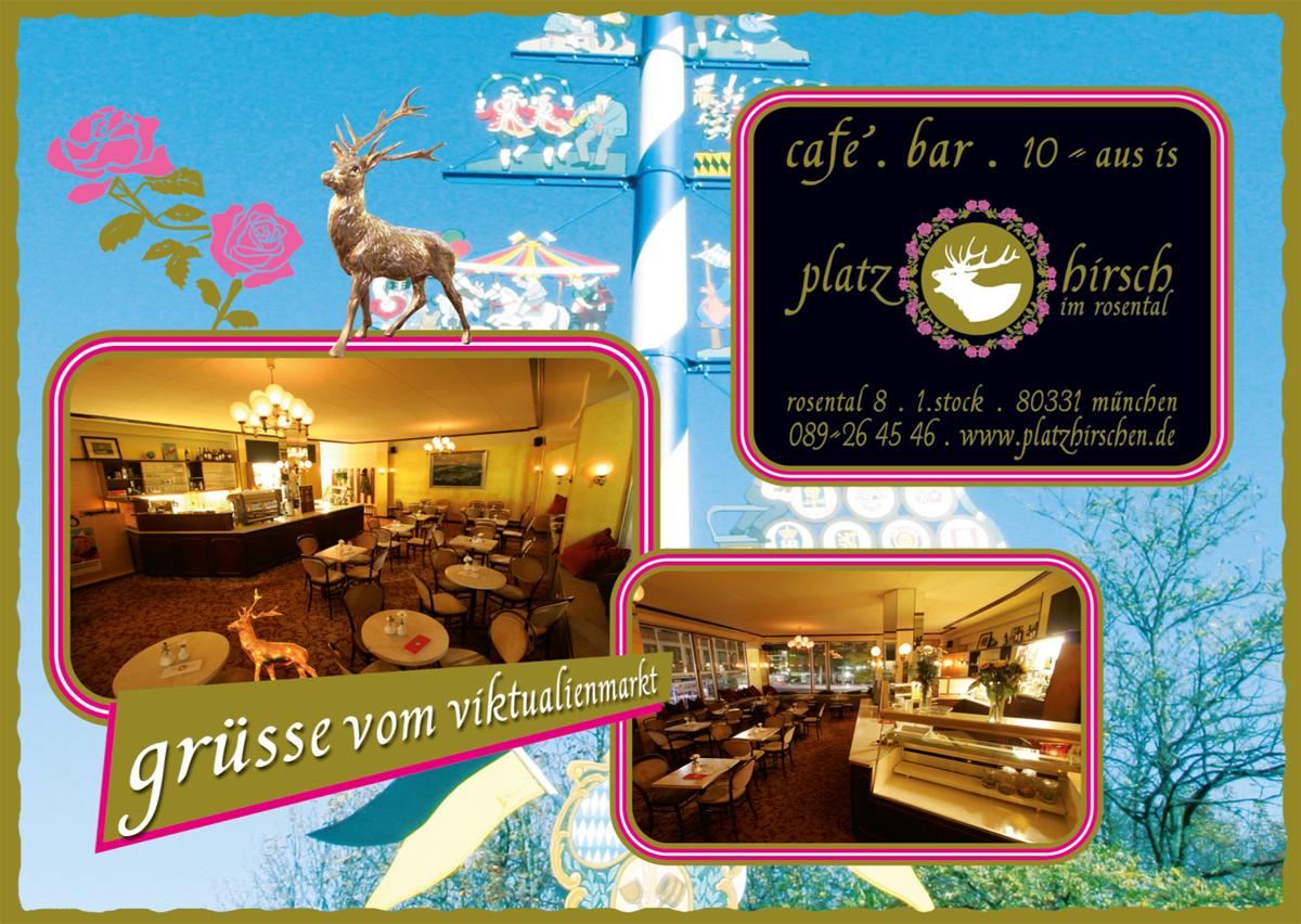 Postkarte Café Platzhirsch