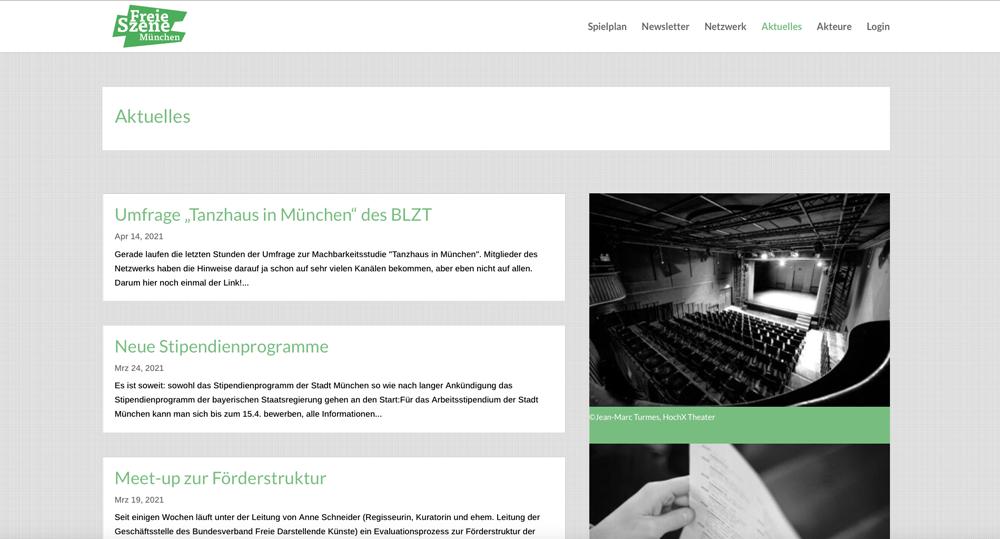 Website Freie Szene München - Aktuelles