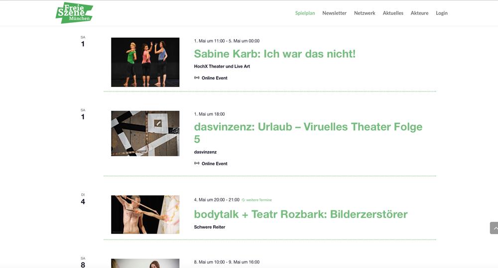 Website Freie Szene München - Spielplan